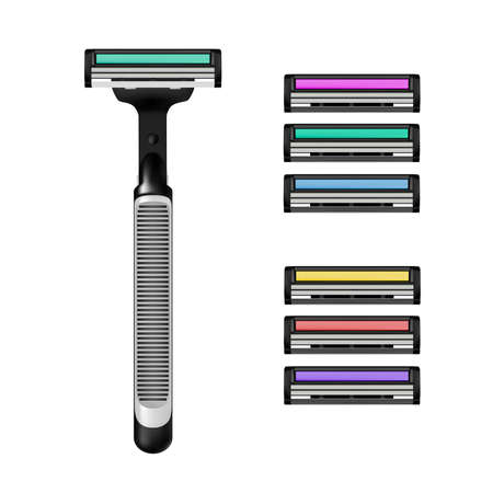 Shaving machine in vector on white background.Magazine for razor vector illustration. 矢量图像