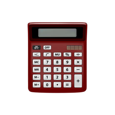 Realistic calculator on white background.The calculator is in the vector.Calculator vector illustration.Vector EPS10.