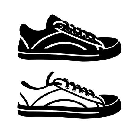 Sneakers in the vector on a white background.