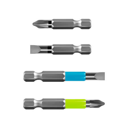 Bits for electric drill or cordless screwdriver in vector on white background. 일러스트