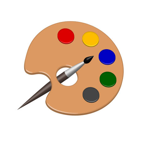 Paint color palette and brush in vector.