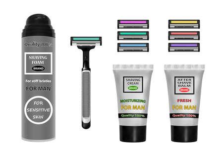 Shaving kit vector illustration.Vector shaving set.