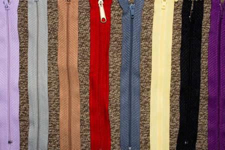 Zippers for clothes and accessories. 免版税图像