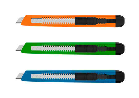 Office knife with interchangeable blades in the vector. Illustration