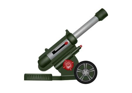 Toy plastic artillery gun in the vector.