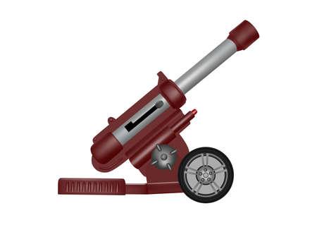 Artillery gun vector illustration.Toy plastic artillery gun in the vector.