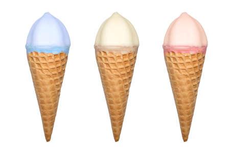 Waffle tube with ice cream. Imagens