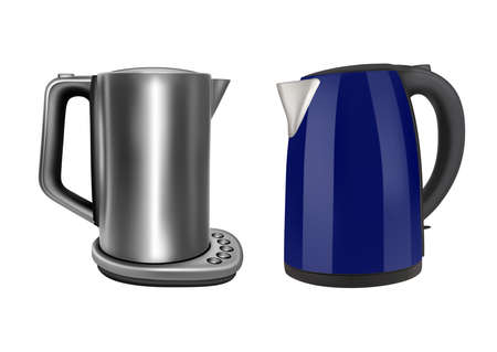 Electric kettle. Stainless steel. Vector illustration.