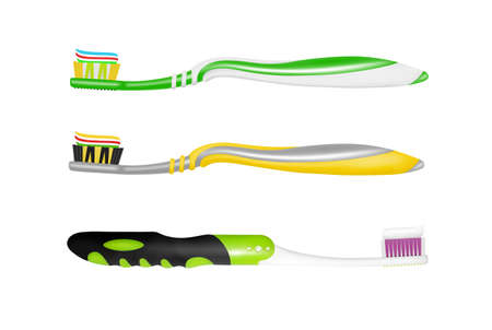 Toothbrush on white background. Vettoriali