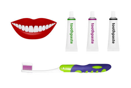 Toothbrush on white background.Toothpaste in the vector.