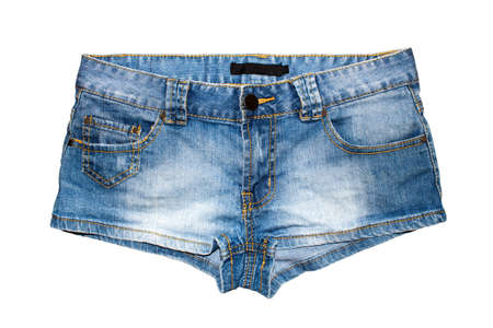 Women's denim shorts on white background.Short denim shorts. Stok Fotoğraf