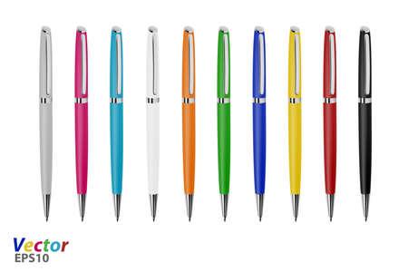 Ballpoint pen on white background. Vector Illustratie