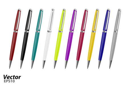 Ballpoint pen on white background. Ilustrace
