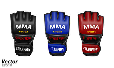 Overlays for fights without rules in a vector. MMA gloves in vector. Mixed martial arts gloves in vector. Иллюстрация