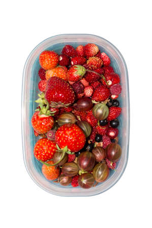 Wild berry. Berries in a plastic container on a white background. Assorted berries.