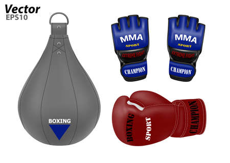 Boxing punching bag in the vector. Boxing gloves in the vector. MMA gloves in vector on white background.