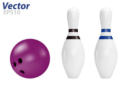 Pins and bowling ball in vector on white background. Illustration