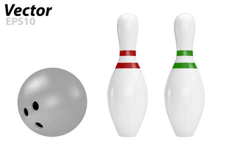 Pins and bowling ball in vector on white background. 向量圖像