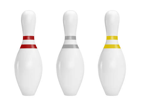 Bowling pins in vector on white background. Иллюстрация