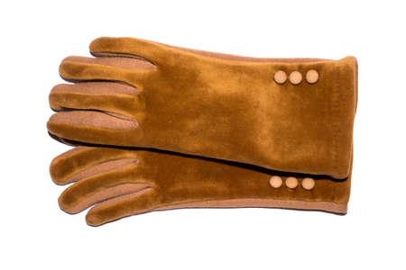Velor gloves for women on a white background.