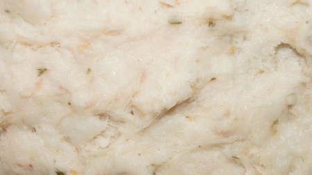 Pork lard. Pork fat with garlic and spices. Background of lard.