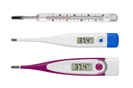 Electronic thermometer in the vector.Thermometer for measuring body temperature in vector.