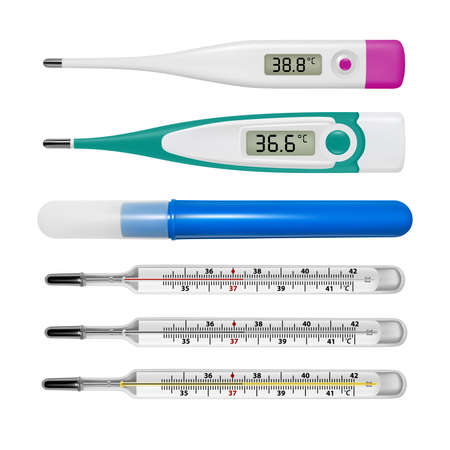 Electronic thermometer in the vector.