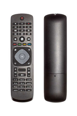 Remote control for TV on a white background.