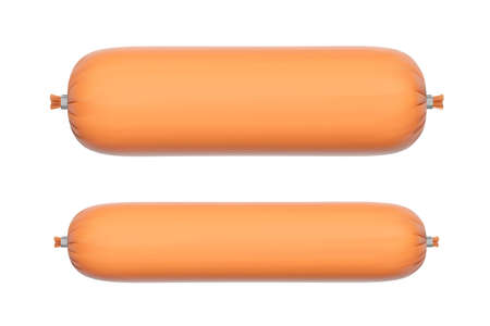 Boiled sausage in a vector on a white background. A stick of sausage vector illustration.