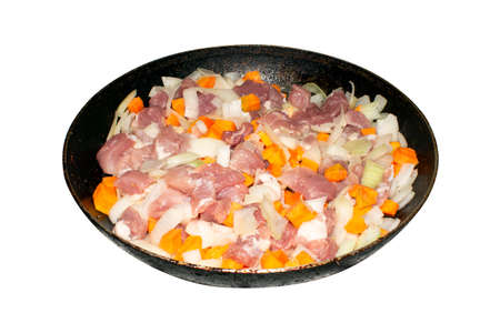 Fried pork slices with vegetables.