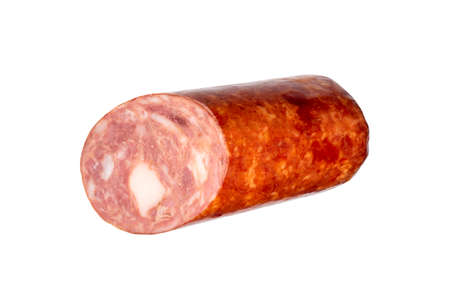 Salami fat smoked sausage on a white background.A stick of smoked sausage with layers of fat.
