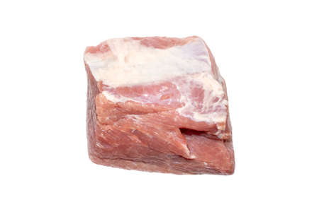A piece of fresh pork meat on a white background. Pork tenderloin top view. 版權商用圖片