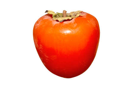 Juicy ripe persimmon isolated on a white background. Persimmon orange exotic fruit on a white background.
