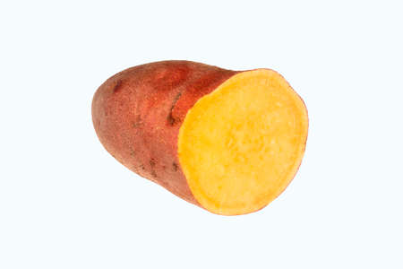 Sweet potatoes isolated on a white background. Fresh raw sweet potatoes in the cut. Reklamní fotografie