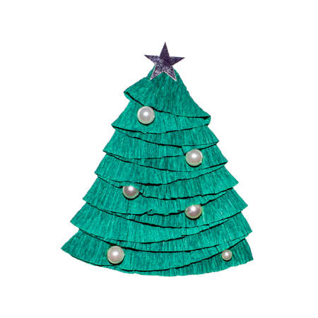 Beautiful green stylized Christmas tree made of paper on a white background. Paper green Christmas tree isolated.