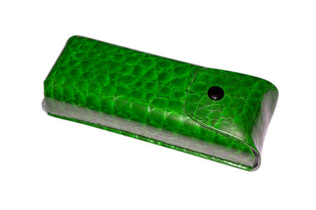 Women's leather eyeglass case top view.Leather eyeglass case isolated on white background.
