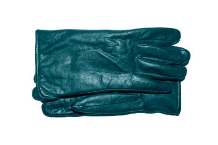 A pair of blue leather gloves on a white background.Leather gloves top view.Leather gloves studio photo. 免版税图像