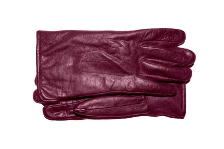 A pair of burgundy leather gloves on a white background.Leather gloves top view.Leather gloves studio photo.