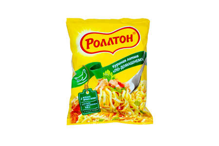 Instant noodles Rollton in the package top view.