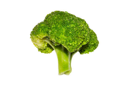 A bunch of broccoli on a white background. Asparagus cabbage. Broccoli studio photo.