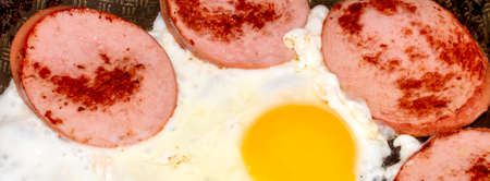 Fried chicken eggs with sausage top view. Background of fried eggs and sausage.
