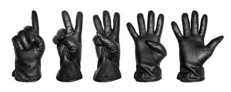 A set of five hands in a black leather glove with numbers in the form of fingers.Hands in leather gloves in the form of numbers 1,2,3,4,5 on a white background.
