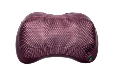 Electric massage pillow for relaxation.Massage pillow for neck and back on a white background.