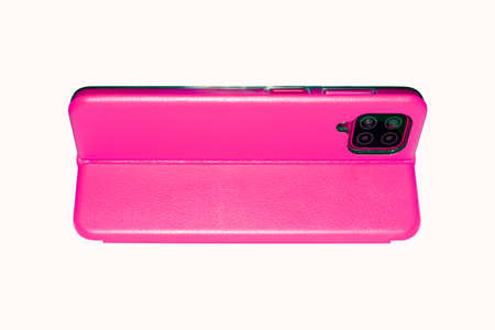 A female smartphone in a pink leather case on a white background.