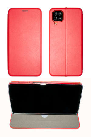 A female smartphone in a red leather case on a white background.