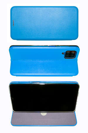 A smartphone in a blue leather case on a white background.