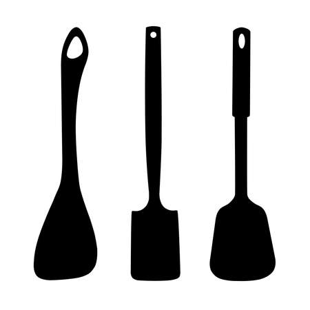 Kitchen spatula logo in vector.Kitchen spatula vector illustration top view.Icons of a set of kitchen shovels in a vector. 向量圖像