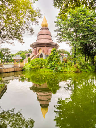 clam gardens: temple in the garden with lagoon and tree