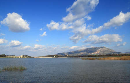 erice: Salt flats and Monte Erice - Trapani Stock Photo