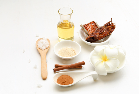 tamarindo: Beautiful set of spa composition with Thai herb and oil on white background